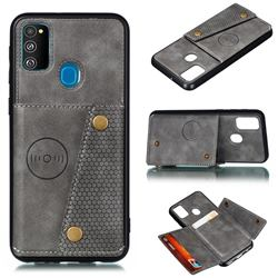 Retro Multifunction Card Slots Stand Leather Coated Phone Back Cover for Samsung Galaxy M31s - Gray