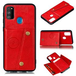 Retro Multifunction Card Slots Stand Leather Coated Phone Back Cover for Samsung Galaxy M31s - Red