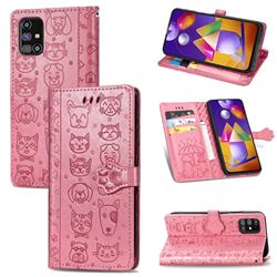 Embossing Dog Paw Kitten and Puppy Leather Wallet Case for Samsung Galaxy M31s - Pink
