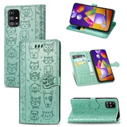 Embossing Dog Paw Kitten and Puppy Leather Wallet Case for Samsung Galaxy M31s - Green