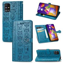Embossing Dog Paw Kitten and Puppy Leather Wallet Case for Samsung Galaxy M31s - Blue