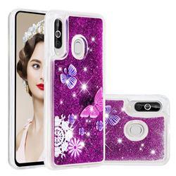 Purple Flower Butterfly Dynamic Liquid Glitter Quicksand Soft TPU Case for Samsung Galaxy M40