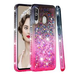 Diamond Frame Liquid Glitter Quicksand Sequins Phone Case for Samsung Galaxy M40 - Gray Pink