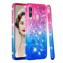 Diamond Frame Liquid Glitter Quicksand Sequins Phone Case for Samsung Galaxy M40 - Pink Blue