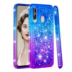Diamond Frame Liquid Glitter Quicksand Sequins Phone Case for Samsung Galaxy M40 - Blue Purple