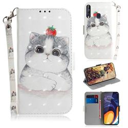 Cute Tomato Cat 3D Painted Leather Wallet Phone Case for Samsung Galaxy M40