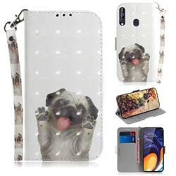 Pug Dog 3D Painted Leather Wallet Phone Case for Samsung Galaxy M40