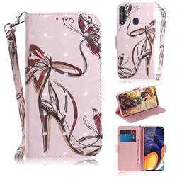Butterfly High Heels 3D Painted Leather Wallet Phone Case for Samsung Galaxy M40