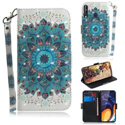 Peacock Mandala 3D Painted Leather Wallet Phone Case for Samsung Galaxy M40
