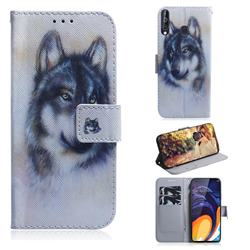 Snow Wolf PU Leather Wallet Case for Samsung Galaxy M40