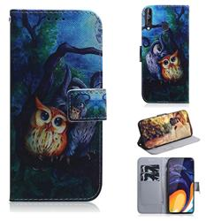 Oil Painting Owl PU Leather Wallet Case for Samsung Galaxy M40