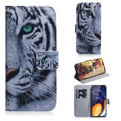 White Tiger PU Leather Wallet Case for Samsung Galaxy M40