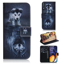 Wolf and Dog PU Leather Wallet Case for Samsung Galaxy M40