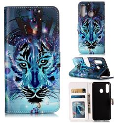 Ice Wolf 3D Relief Oil PU Leather Wallet Case for Samsung Galaxy M40