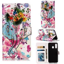 Flower Elephant 3D Relief Oil PU Leather Wallet Case for Samsung Galaxy M40