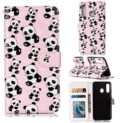 Cute Panda 3D Relief Oil PU Leather Wallet Case for Samsung Galaxy M40