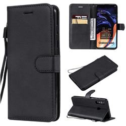 Retro Greek Classic Smooth PU Leather Wallet Phone Case for Samsung Galaxy M40 - Black