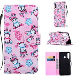 Unicorn and Flowers Matte Leather Wallet Phone Case for Samsung Galaxy M40