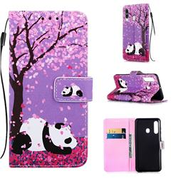 Cherry Blossom Panda Matte Leather Wallet Phone Case for Samsung Galaxy M40