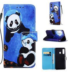 Undersea Panda Matte Leather Wallet Phone Case for Samsung Galaxy M40