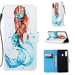 Mermaid Matte Leather Wallet Phone Case for Samsung Galaxy M40