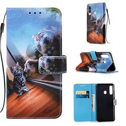 Mirror Cat Matte Leather Wallet Phone Case for Samsung Galaxy M40