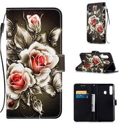 Black Rose Matte Leather Wallet Phone Case for Samsung Galaxy M40