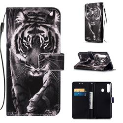 Black and White Tiger Matte Leather Wallet Phone Case for Samsung Galaxy M40