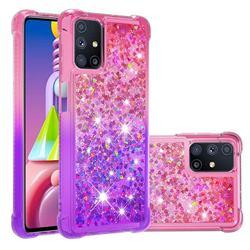 Rainbow Gradient Liquid Glitter Quicksand Sequins Phone Case for Samsung Galaxy M51 - Pink Purple