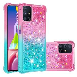 Rainbow Gradient Liquid Glitter Quicksand Sequins Phone Case for Samsung Galaxy M51 - Pink Blue