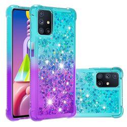 Rainbow Gradient Liquid Glitter Quicksand Sequins Phone Case for Samsung Galaxy M51 - Blue Purple
