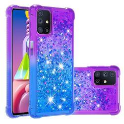Rainbow Gradient Liquid Glitter Quicksand Sequins Phone Case for Samsung Galaxy M51 - Purple Blue