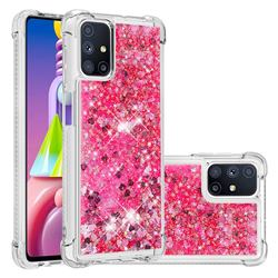 Dynamic Liquid Glitter Sand Quicksand TPU Case for Samsung Galaxy M51 - Pink Love Heart