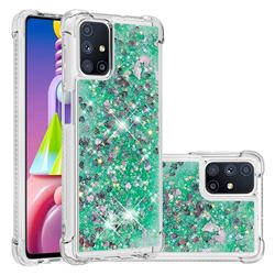 Dynamic Liquid Glitter Sand Quicksand TPU Case for Samsung Galaxy M51 - Green Love Heart