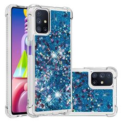 Dynamic Liquid Glitter Sand Quicksand TPU Case for Samsung Galaxy M51 - Blue Love Heart