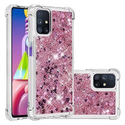 Dynamic Liquid Glitter Sand Quicksand Star TPU Case for Samsung Galaxy M51 - Diamond Rose