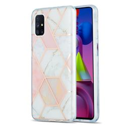 Pink White Marble Pattern Galvanized Electroplating Protective Case Cover for Samsung Galaxy M51