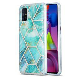 Blue Sea Marble Pattern Galvanized Electroplating Protective Case Cover for Samsung Galaxy M51