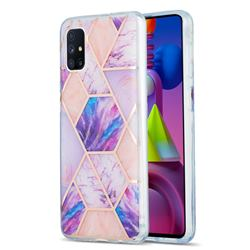 Purple Dream Marble Pattern Galvanized Electroplating Protective Case Cover for Samsung Galaxy M51
