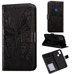 Intricate Embossing Vivid Butterfly Leather Wallet Case for Samsung Galaxy M51 - Black