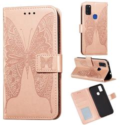 Intricate Embossing Vivid Butterfly Leather Wallet Case for Samsung Galaxy M51 - Rose Gold