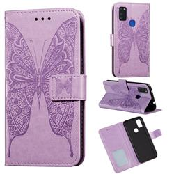 Intricate Embossing Vivid Butterfly Leather Wallet Case for Samsung Galaxy M51 - Purple
