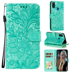 Intricate Embossing Lace Jasmine Flower Leather Wallet Case for Samsung Galaxy M51 - Green
