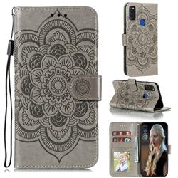 Intricate Embossing Datura Solar Leather Wallet Case for Samsung Galaxy M51 - Gray