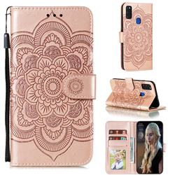 Intricate Embossing Datura Solar Leather Wallet Case for Samsung Galaxy M51 - Rose Gold
