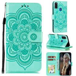Intricate Embossing Datura Solar Leather Wallet Case for Samsung Galaxy M51 - Green