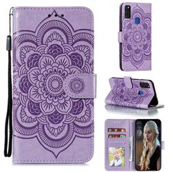 Intricate Embossing Datura Solar Leather Wallet Case for Samsung Galaxy M51 - Purple