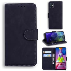 Retro Classic Skin Feel Leather Wallet Phone Case for Samsung Galaxy M51 - Black