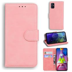 Retro Classic Skin Feel Leather Wallet Phone Case for Samsung Galaxy M51 - Pink