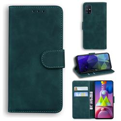 Retro Classic Skin Feel Leather Wallet Phone Case for Samsung Galaxy M51 - Green